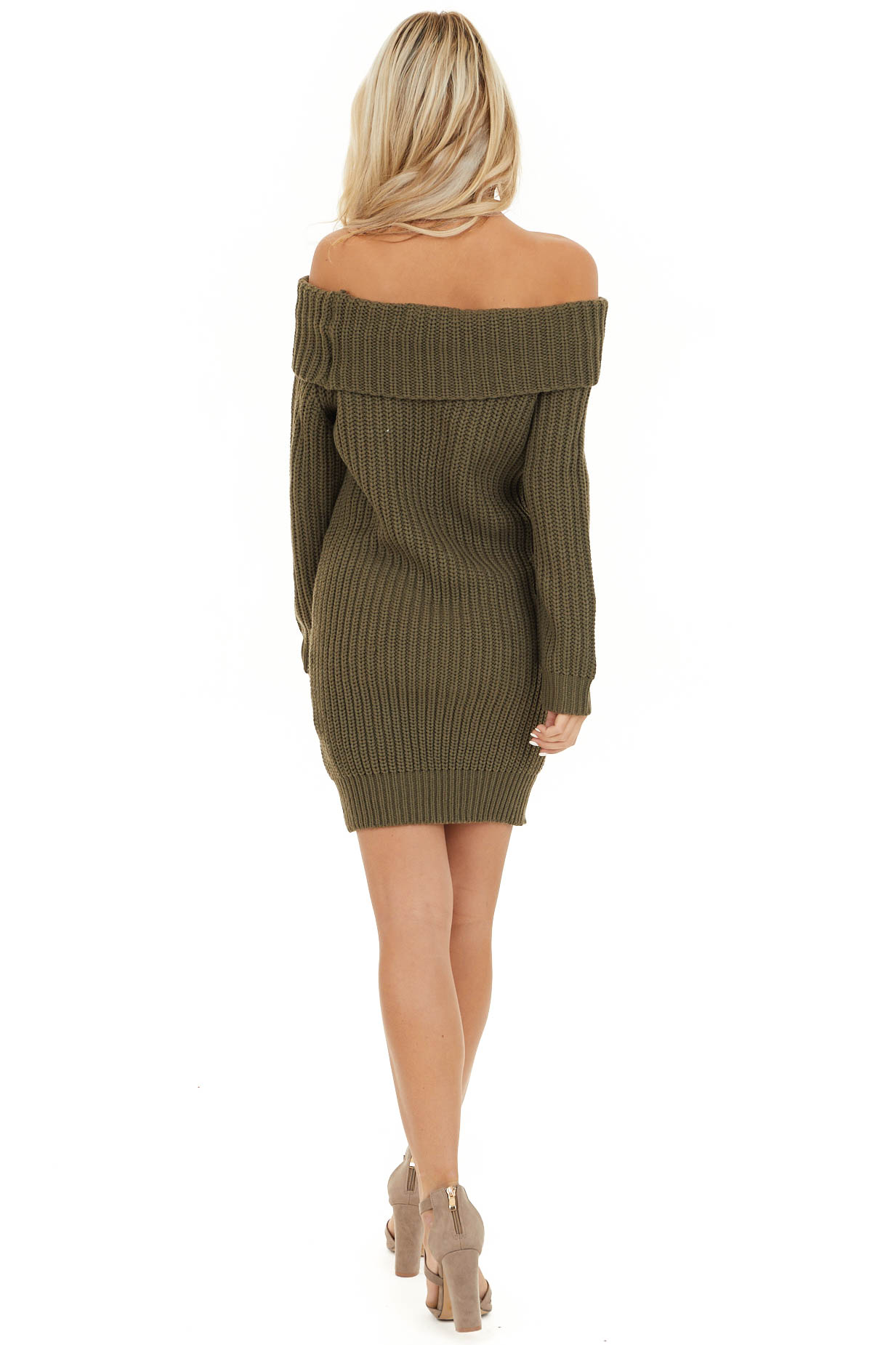 Olive Green Chunky Knit Off the Shoulder Sweater Dress back full body