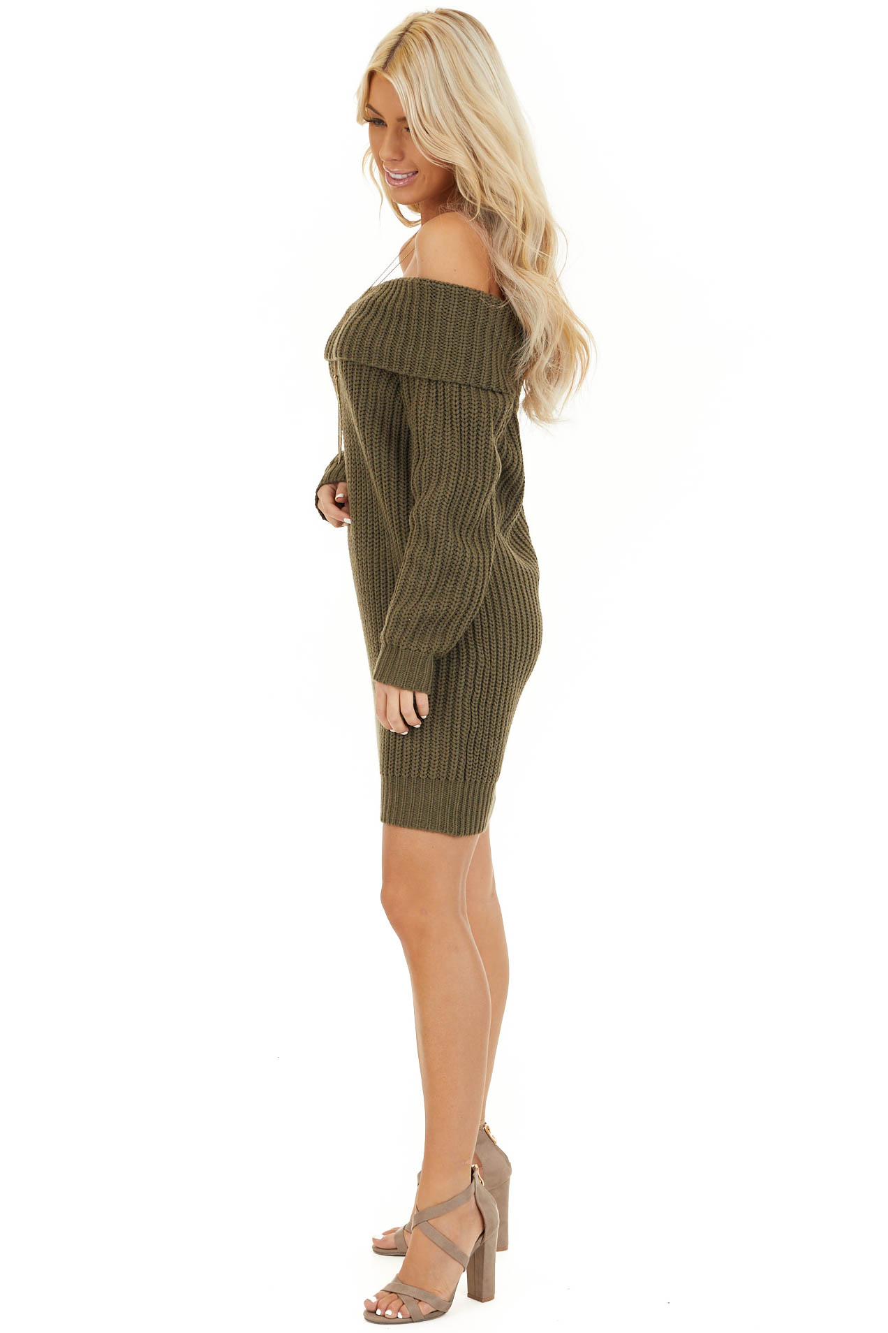Olive Green Chunky Knit Off the Shoulder Sweater Dress side full body