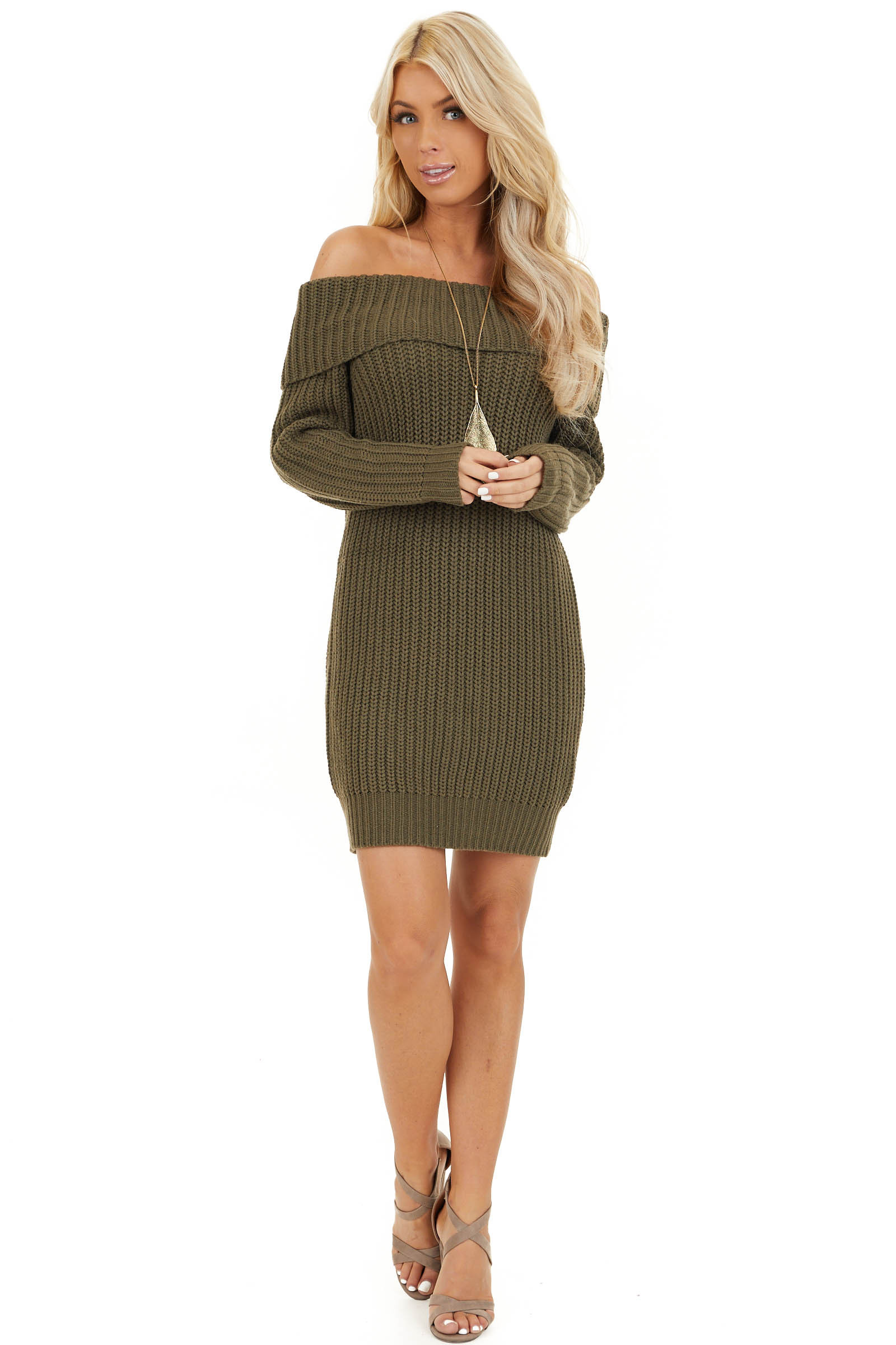 Olive Green Chunky Knit Off the Shoulder Sweater Dress front full body