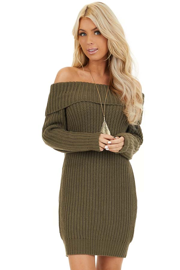 Olive Green Chunky Knit Off the Shoulder Sweater Dress front close up