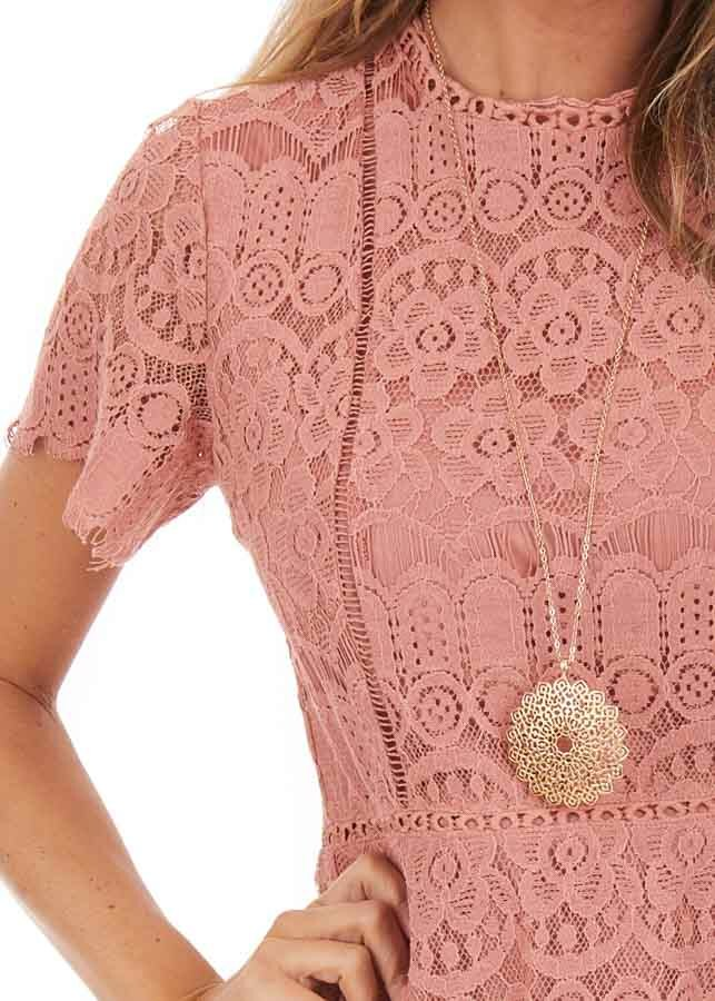Dusty Rose Detailed Lace Dress with Sheer Short Sleeves detail