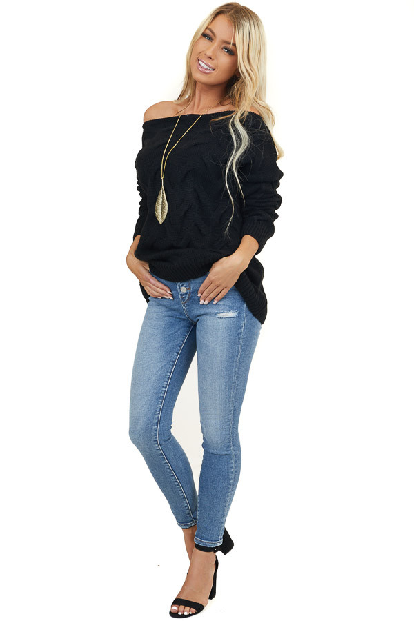 Black Textured Knit Off the Shoulder Sweater Top