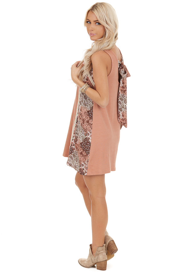 Faded Peach Ribbed Knit Mini Dress with Patchwork Contrast side full body
