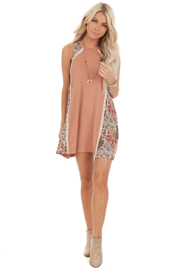Faded Peach Ribbed Knit Mini Dress with Patchwork Contrast front full body