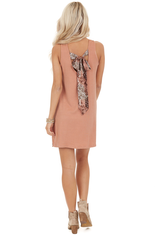 Faded Peach Ribbed Knit Mini Dress with Patchwork Contrast back full body