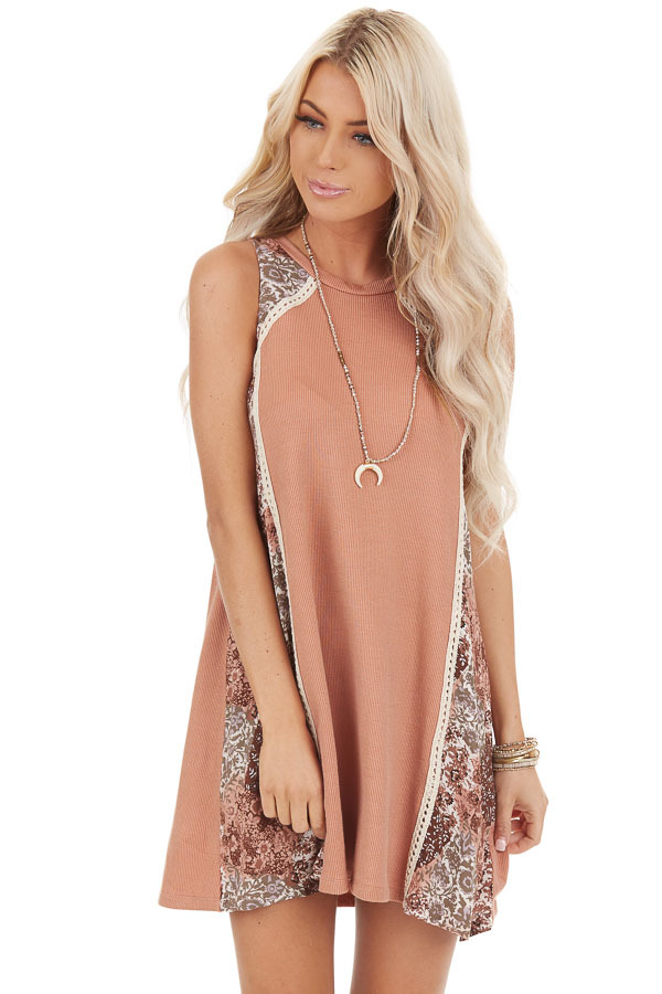 Faded Peach Ribbed Knit Mini Dress with Patchwork Contrast front close up