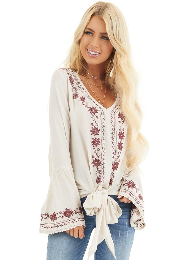 Beige and Wine Embroidered Top with Long Bell Sleeves front close up
