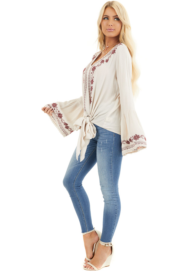 Beige and Wine Embroidered Top with Long Bell Sleeves side full body