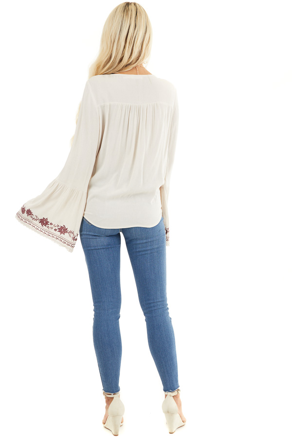 Beige and Wine Embroidered Top with Long Bell Sleeves back full body