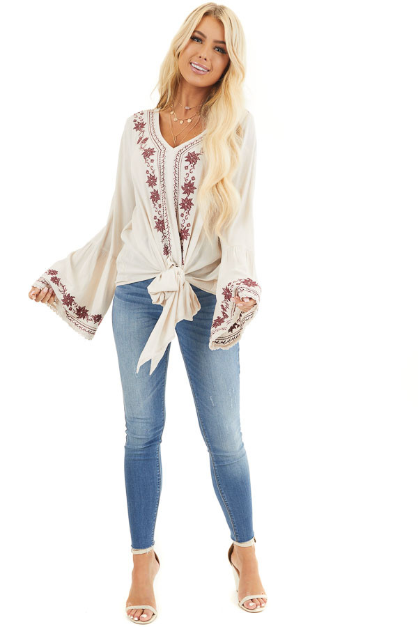 Beige and Wine Embroidered Top with Long Bell Sleeves front full body