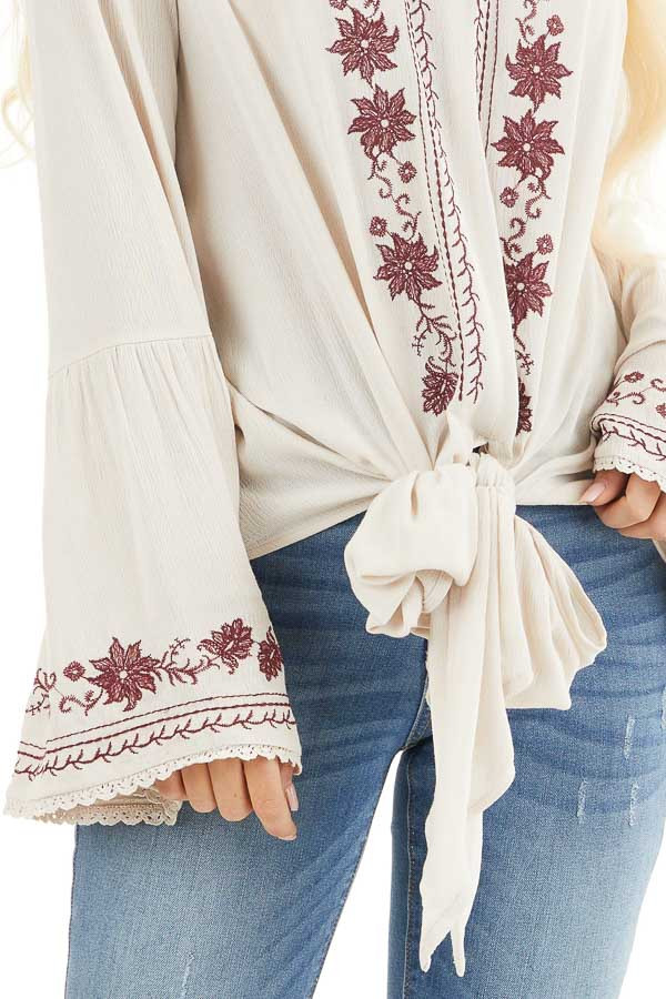 Beige and Wine Embroidered Top with Long Bell Sleeves detail