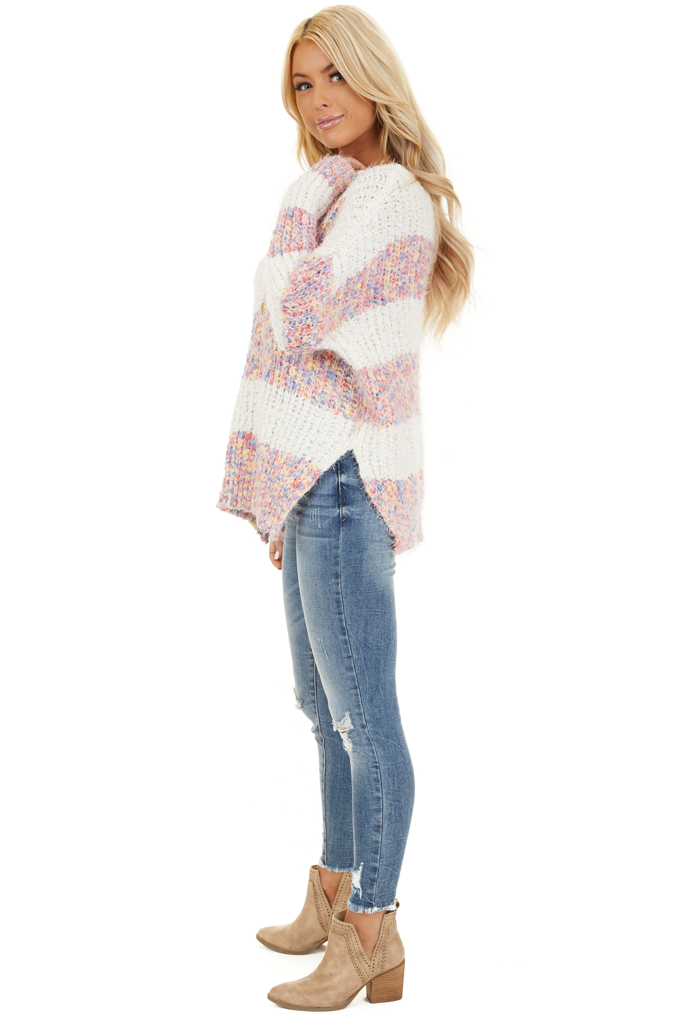 Ivory Popcorn Knit Long Sleeve Sweater with Speckled Stripes side full body