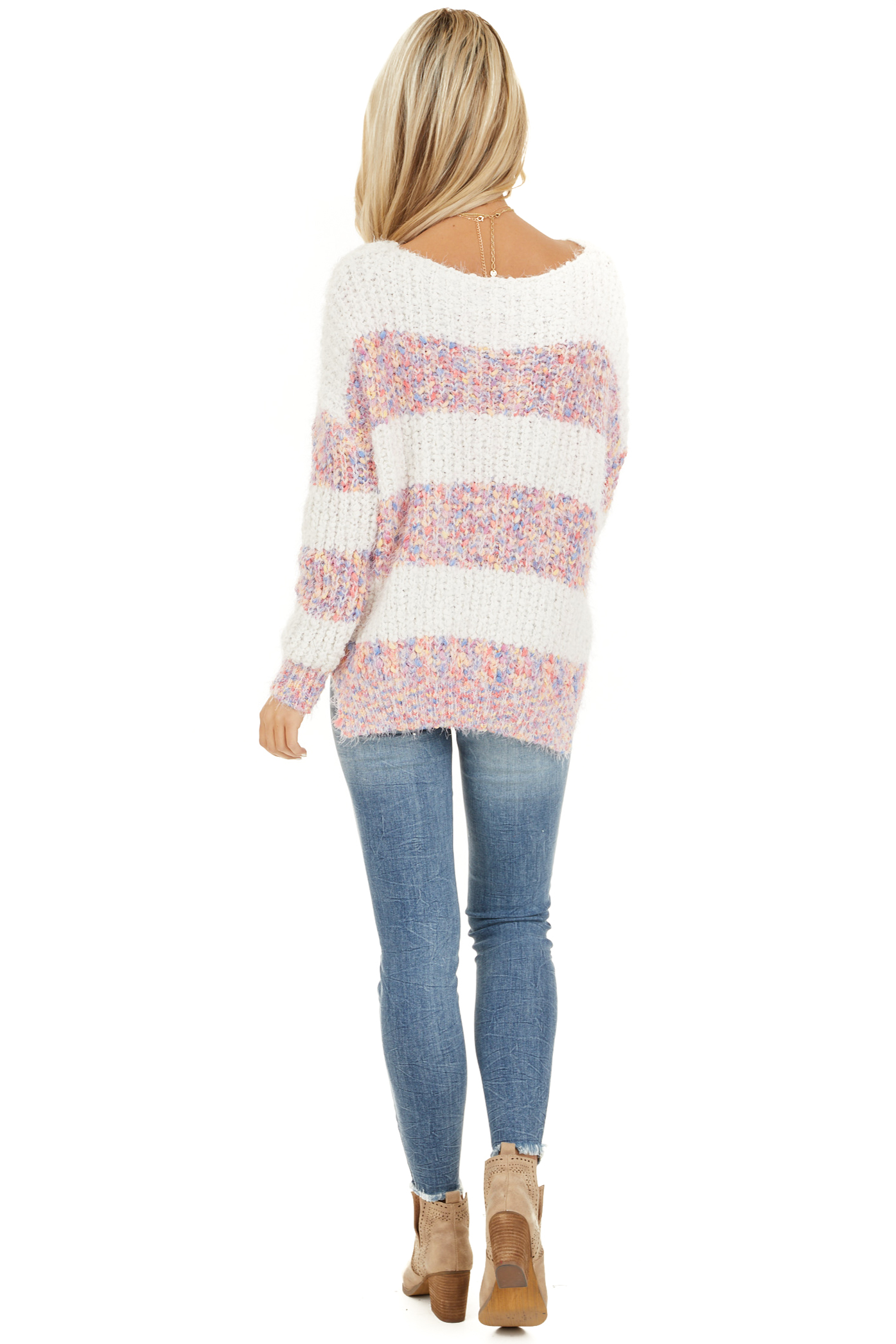 Ivory Popcorn Knit Long Sleeve Sweater with Speckled Stripes back full body