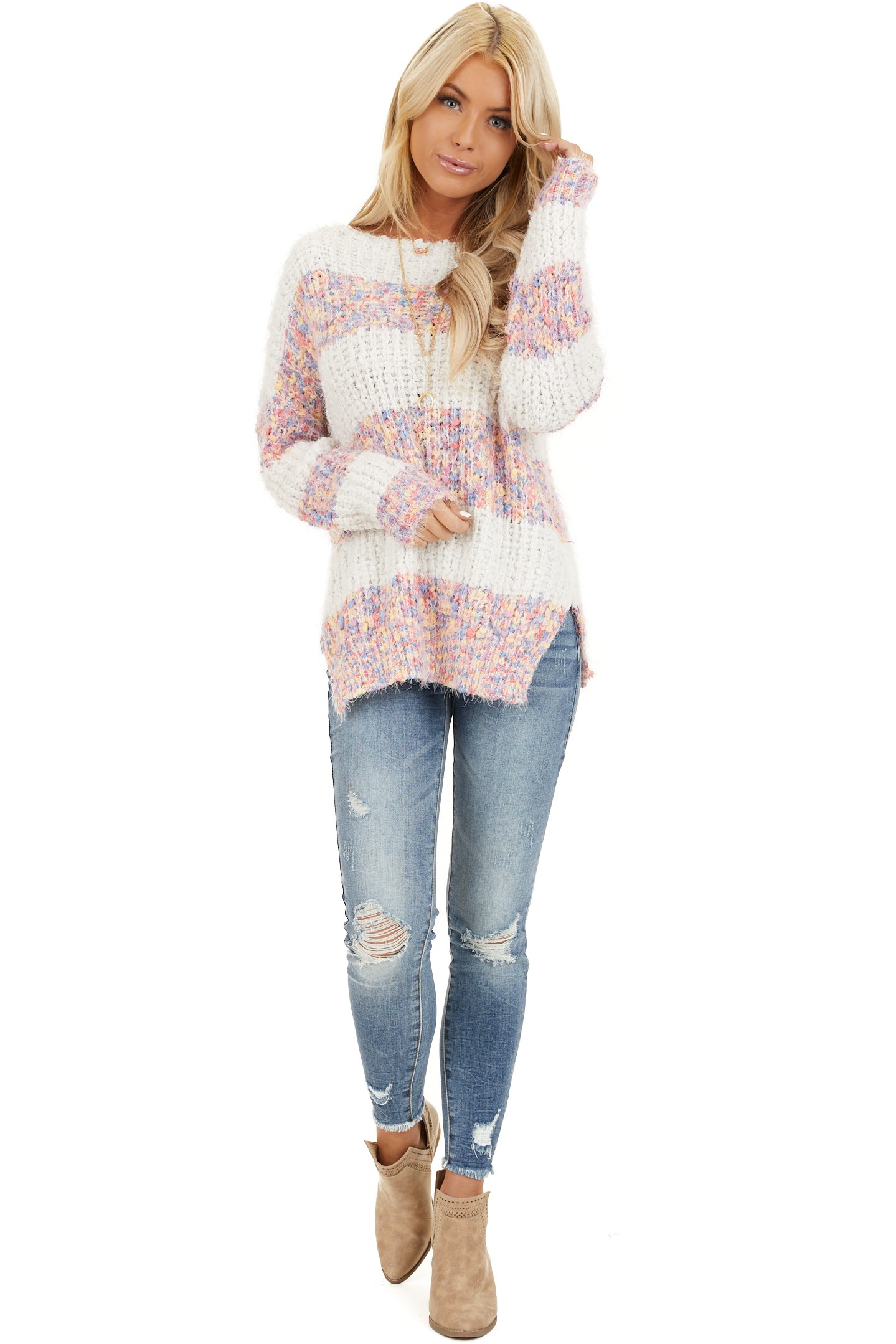 Ivory Popcorn Knit Long Sleeve Sweater with Speckled Stripes front full body