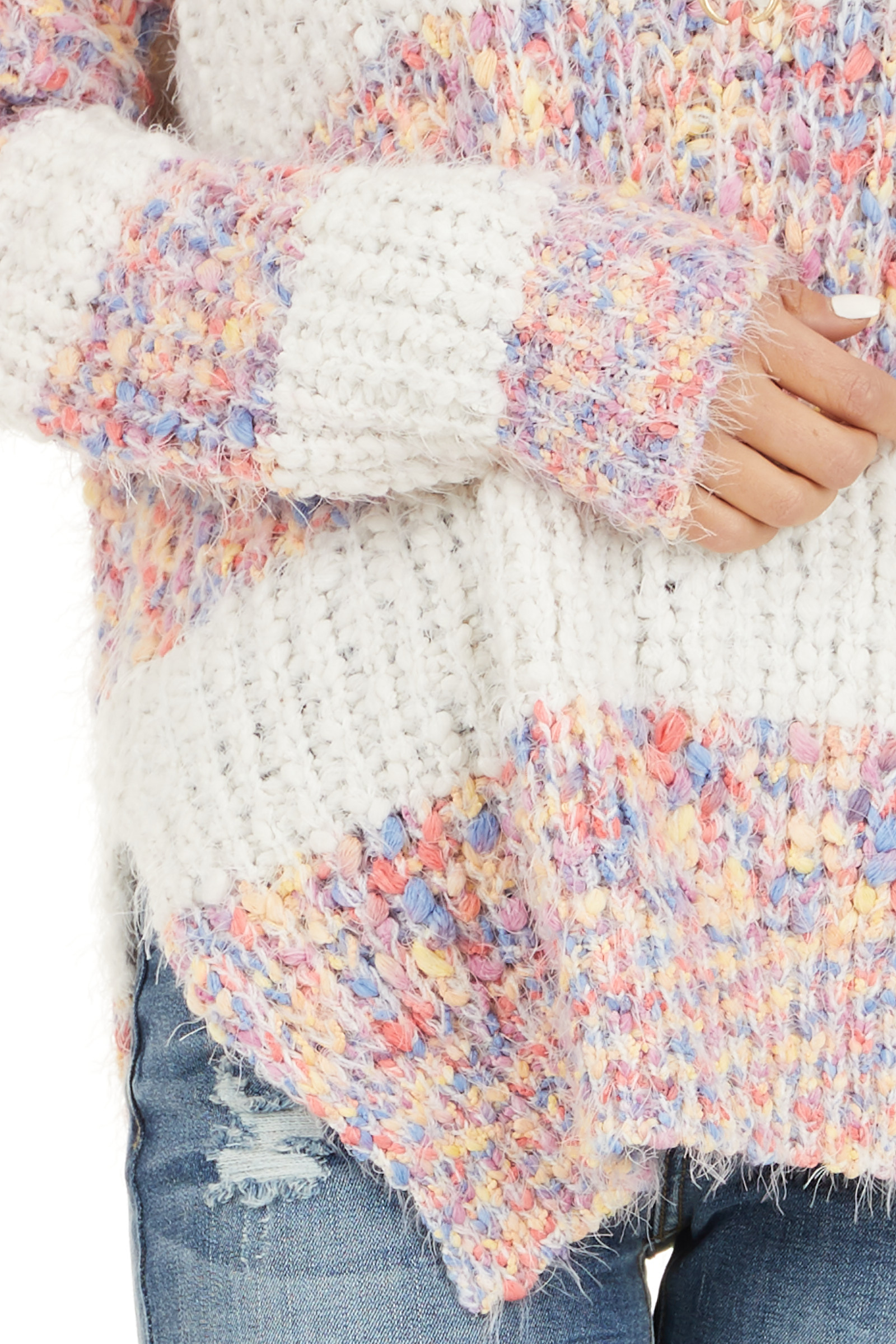 Ivory Popcorn Knit Long Sleeve Sweater with Speckled Stripes detail