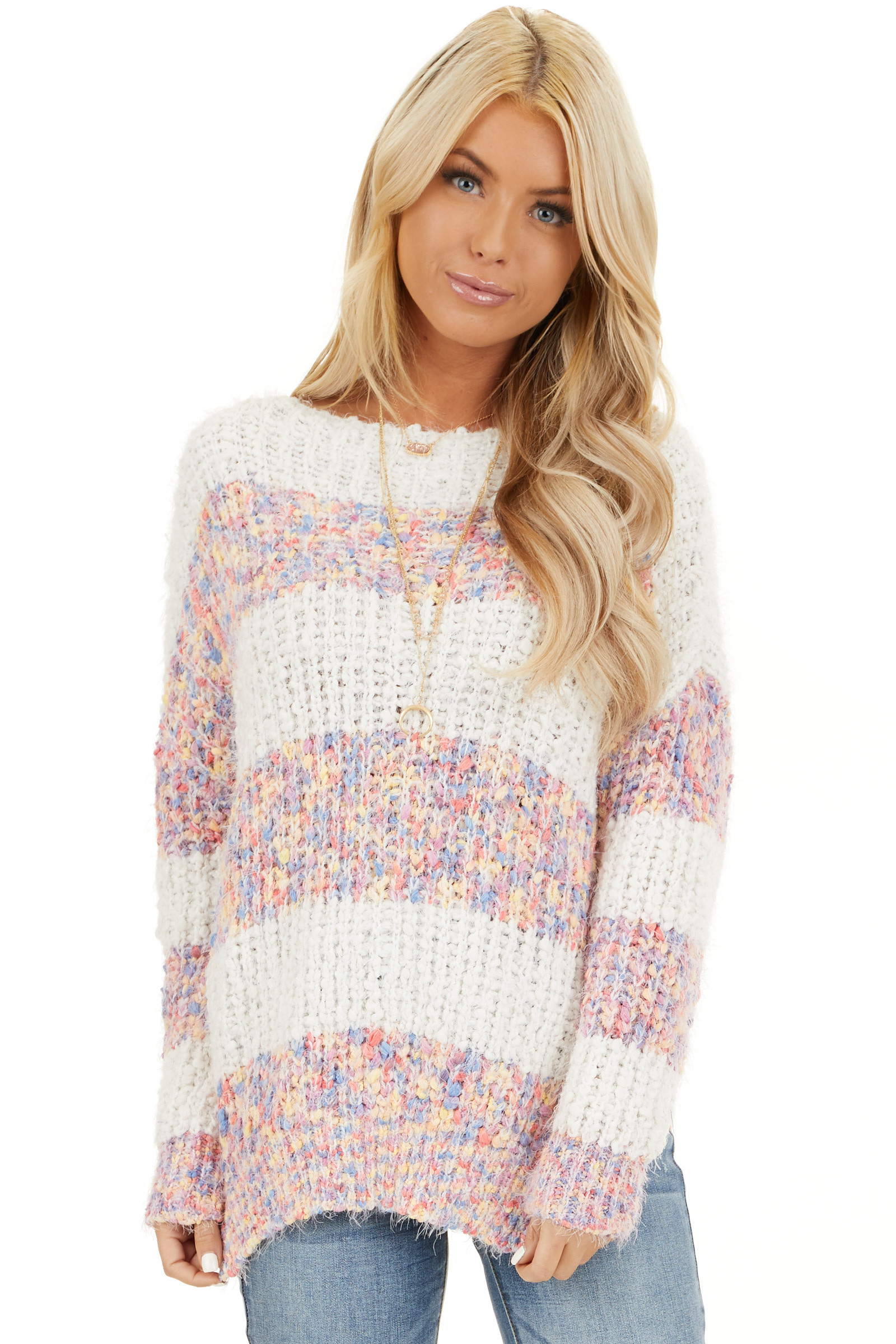 Ivory Popcorn Knit Long Sleeve Sweater with Speckled Stripes closeup