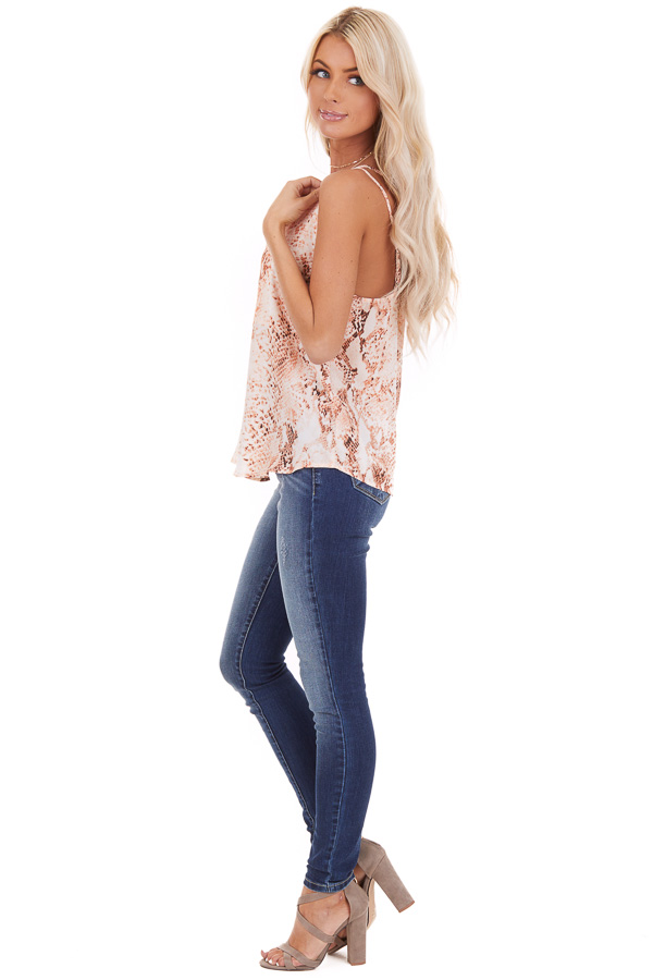 Peach Snake Print Tank Top with Criss Cross Back side full body