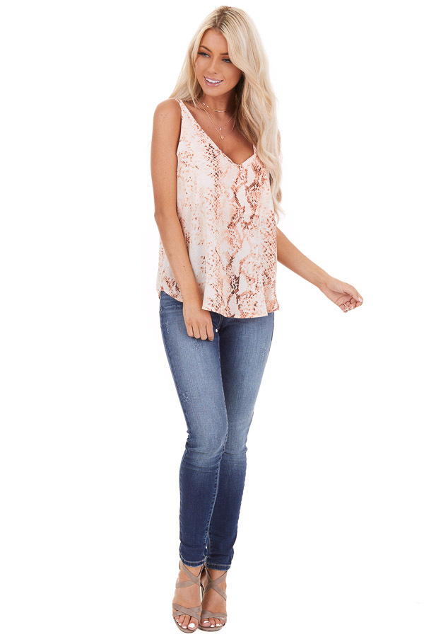 Peach Snake Print Tank Top with Criss Cross Back front full body