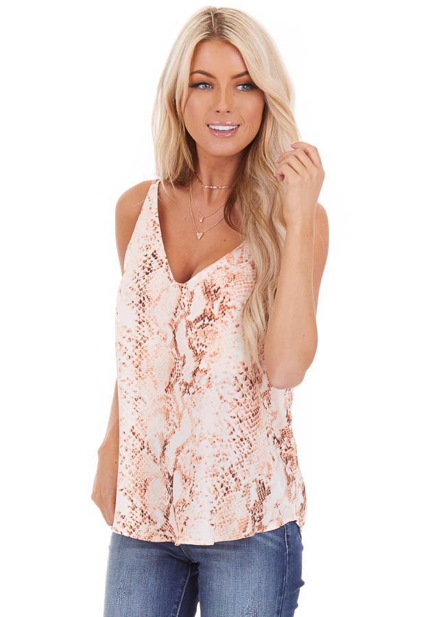 Peach Snake Print Tank Top with Criss Cross Back front close up