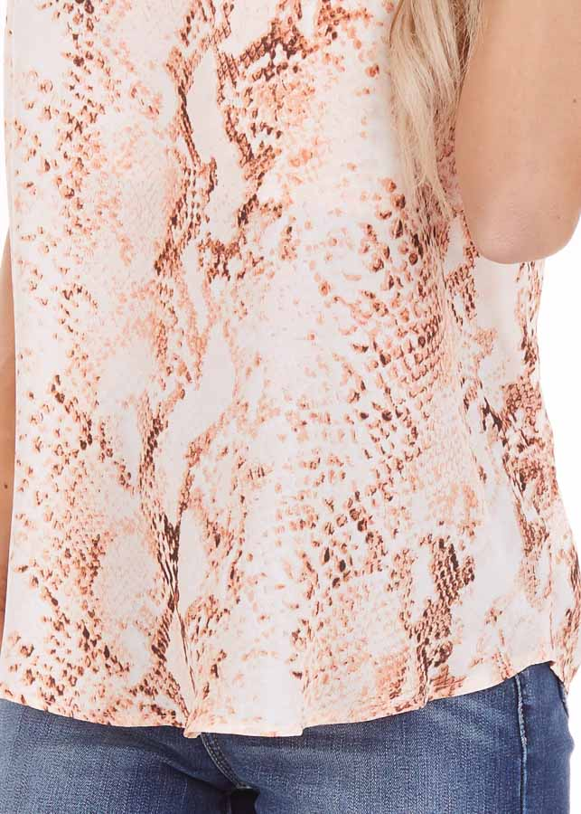 Peach Snake Print Tank Top with Criss Cross Back detail