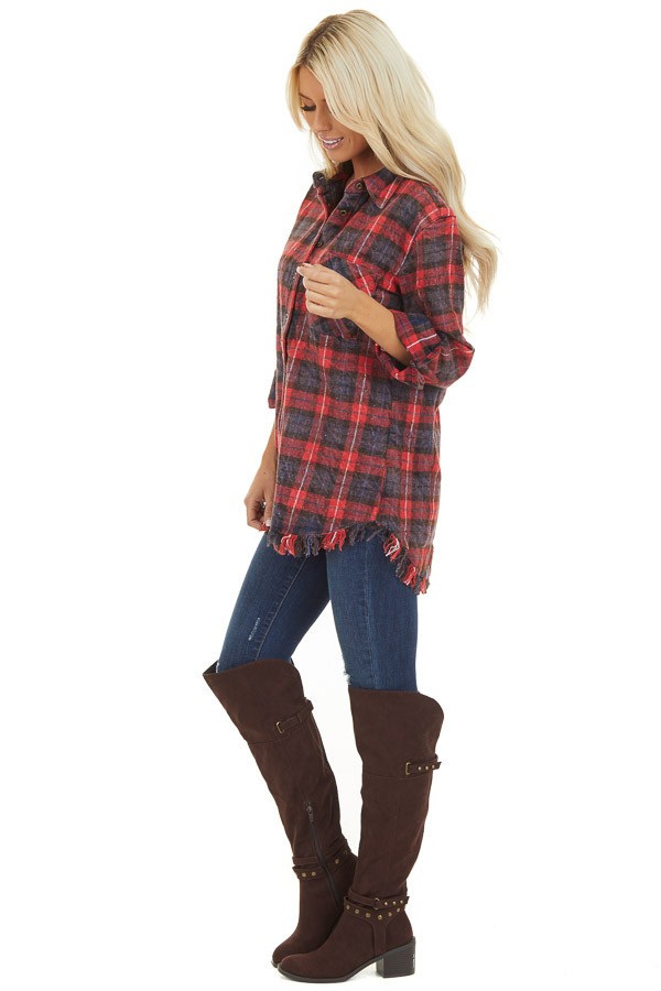 Red and Charcoal Plaid Flannel Top with Fringe Detail side full body