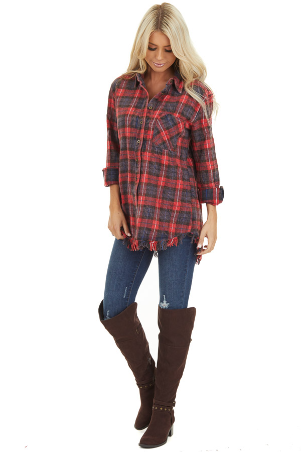 Red and Charcoal Plaid Flannel Top with Fringe Detail front full body