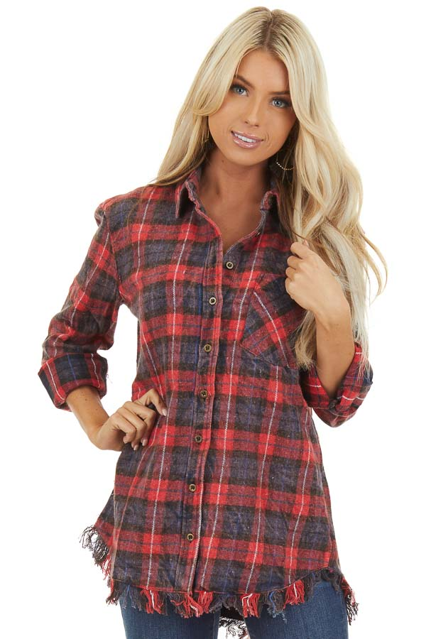 Red and Charcoal Plaid Flannel Top with Fringe Detail front close up