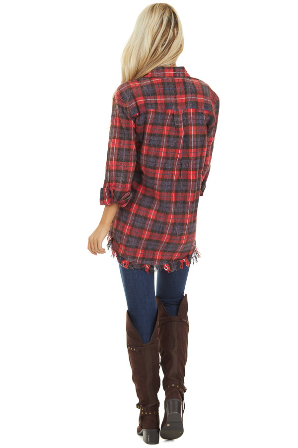 Red and Charcoal Plaid Flannel Top with Fringe Detail back full body