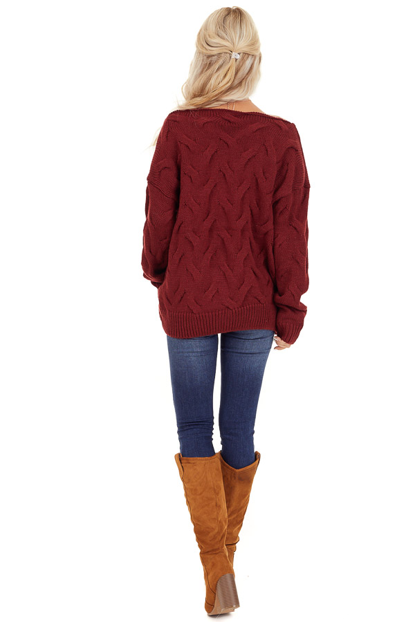 Burgundy Textured Knit Wide Neck Sweater Top back full body