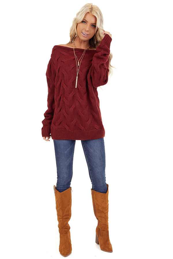 Burgundy Textured Knit Wide Neck Sweater Top front full body