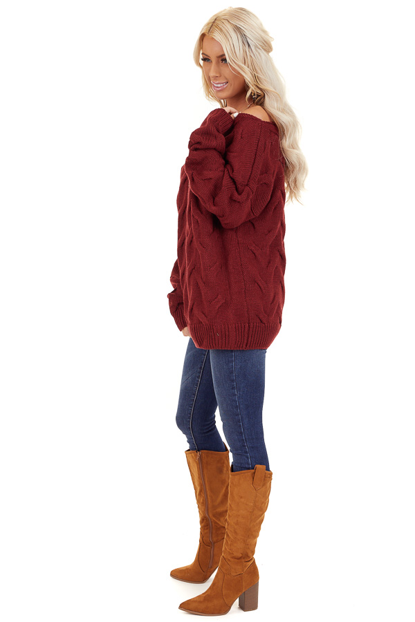 Burgundy Textured Knit Wide Neck Sweater Top side full body