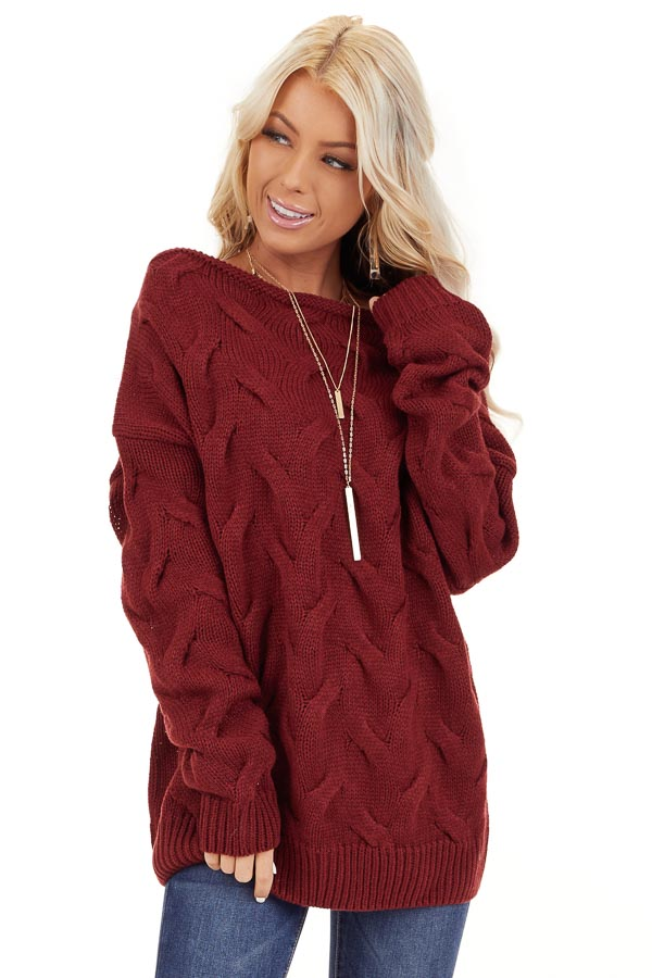 Burgundy Textured Knit Wide Neck Sweater Top front close up