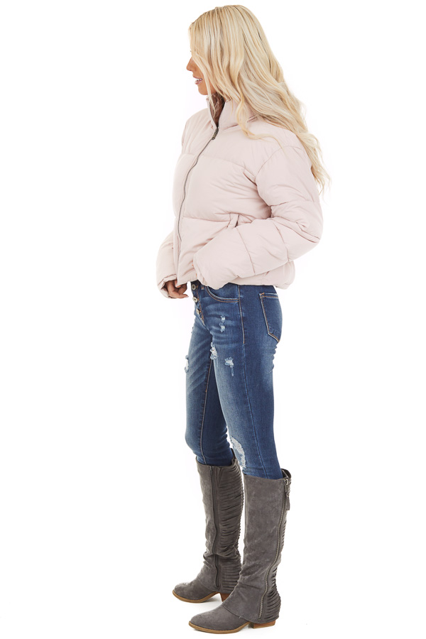 Light Pink Zip Up Long Sleeve Puffer Jacket with Pockets side full body