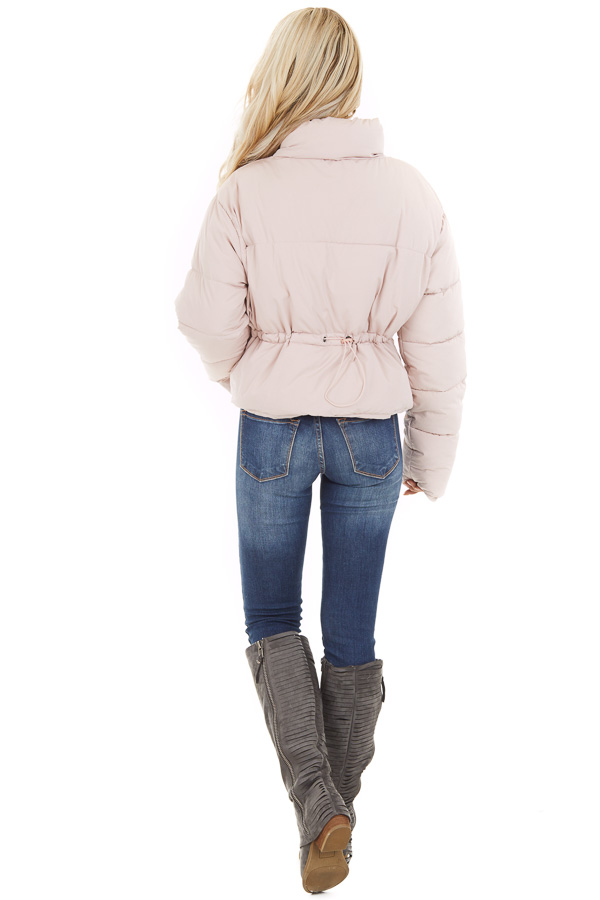 Light Pink Zip Up Long Sleeve Puffer Jacket with Pockets back full body