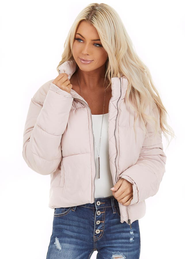 Light Pink Zip Up Long Sleeve Puffer Jacket with Pockets front close up