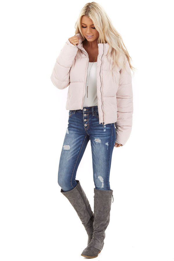 Light Pink Zip Up Long Sleeve Puffer Jacket with Pockets front full body