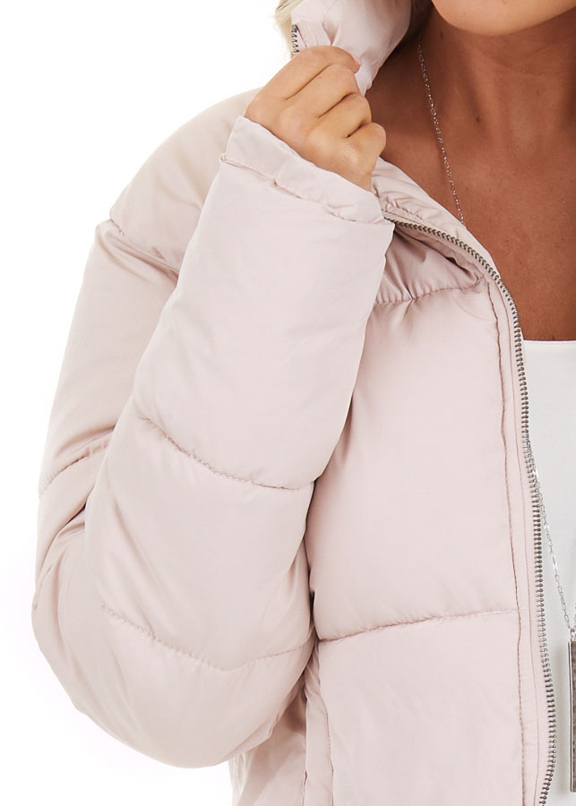 Light Pink Zip Up Long Sleeve Puffer Jacket with Pockets detail