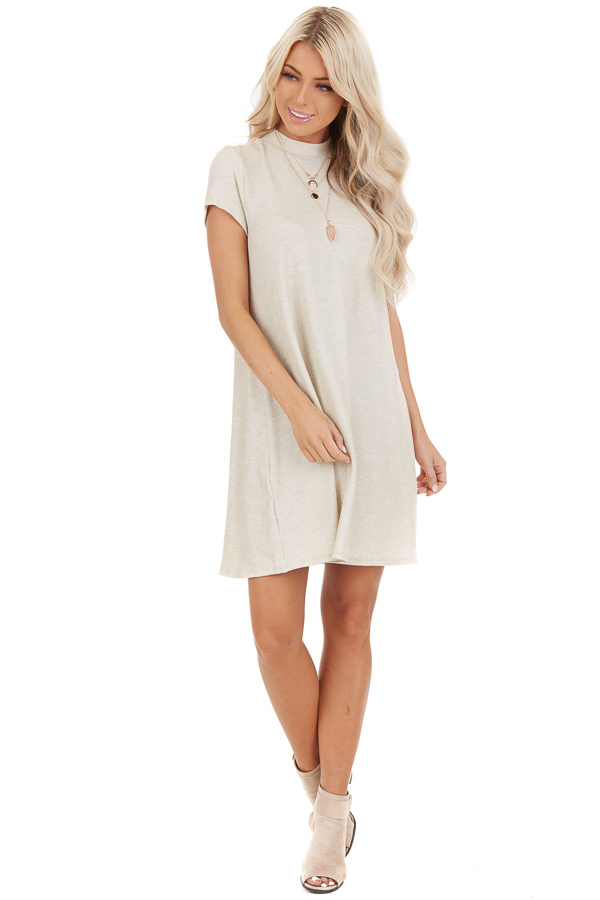 Oatmeal Ribbed Mock Neck Mini Dress with Snakeskin Tie front full body