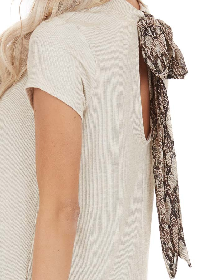 Oatmeal Ribbed Mock Neck Mini Dress with Snakeskin Tie detail