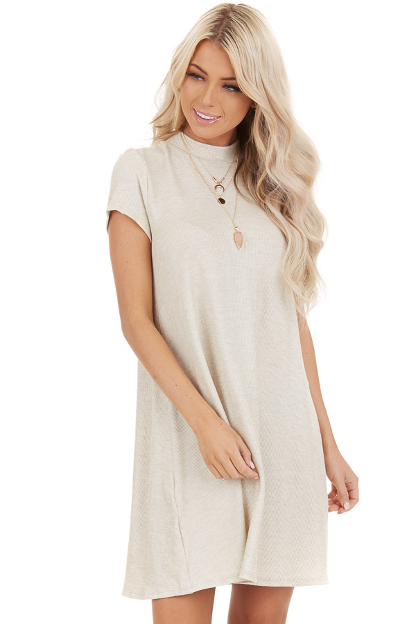 Oatmeal Ribbed Mock Neck Mini Dress with Snakeskin Tie front close up
