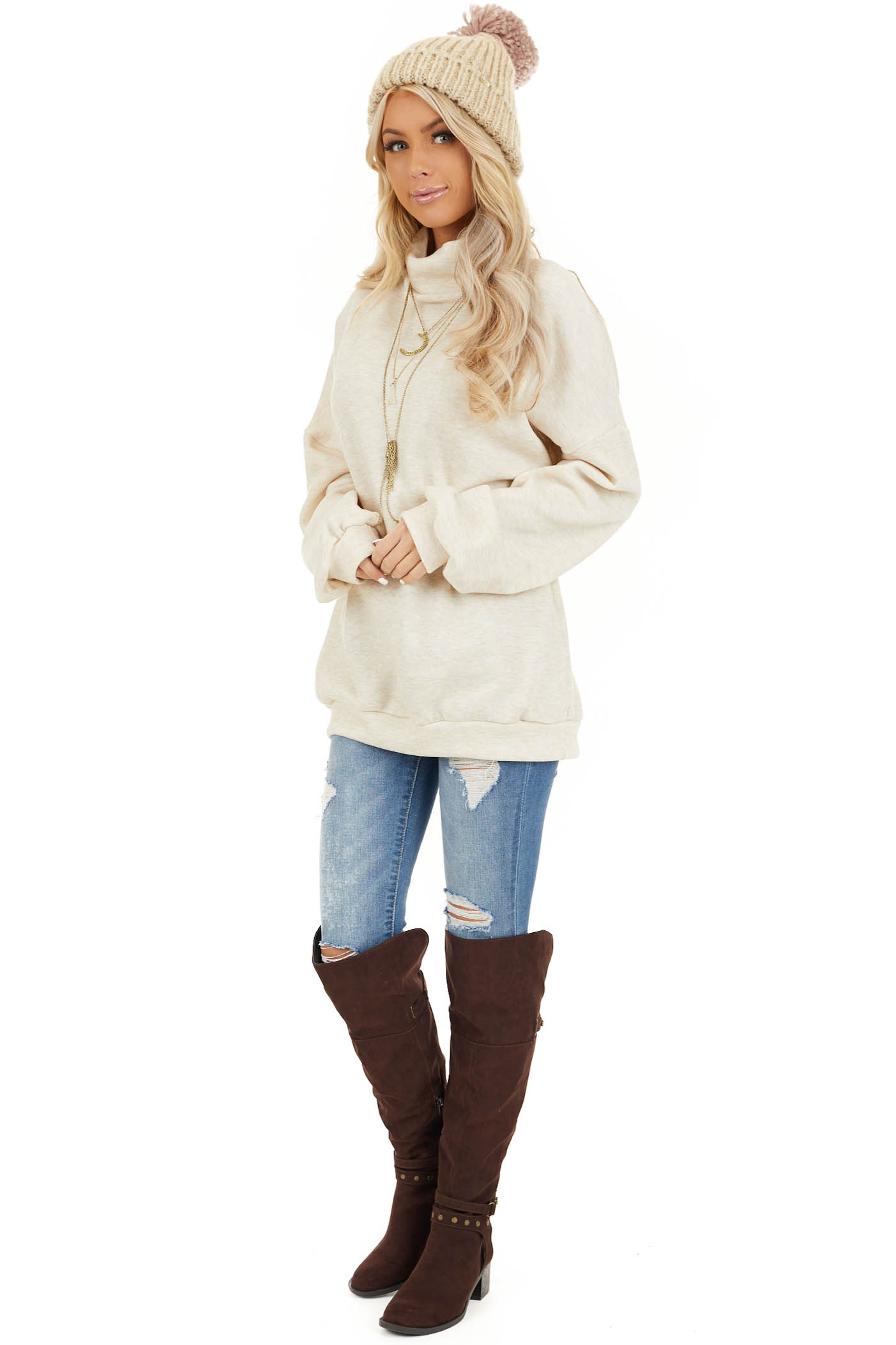Oatmeal Turtleneck Top with Long Sleeves and Banded Hem front full body