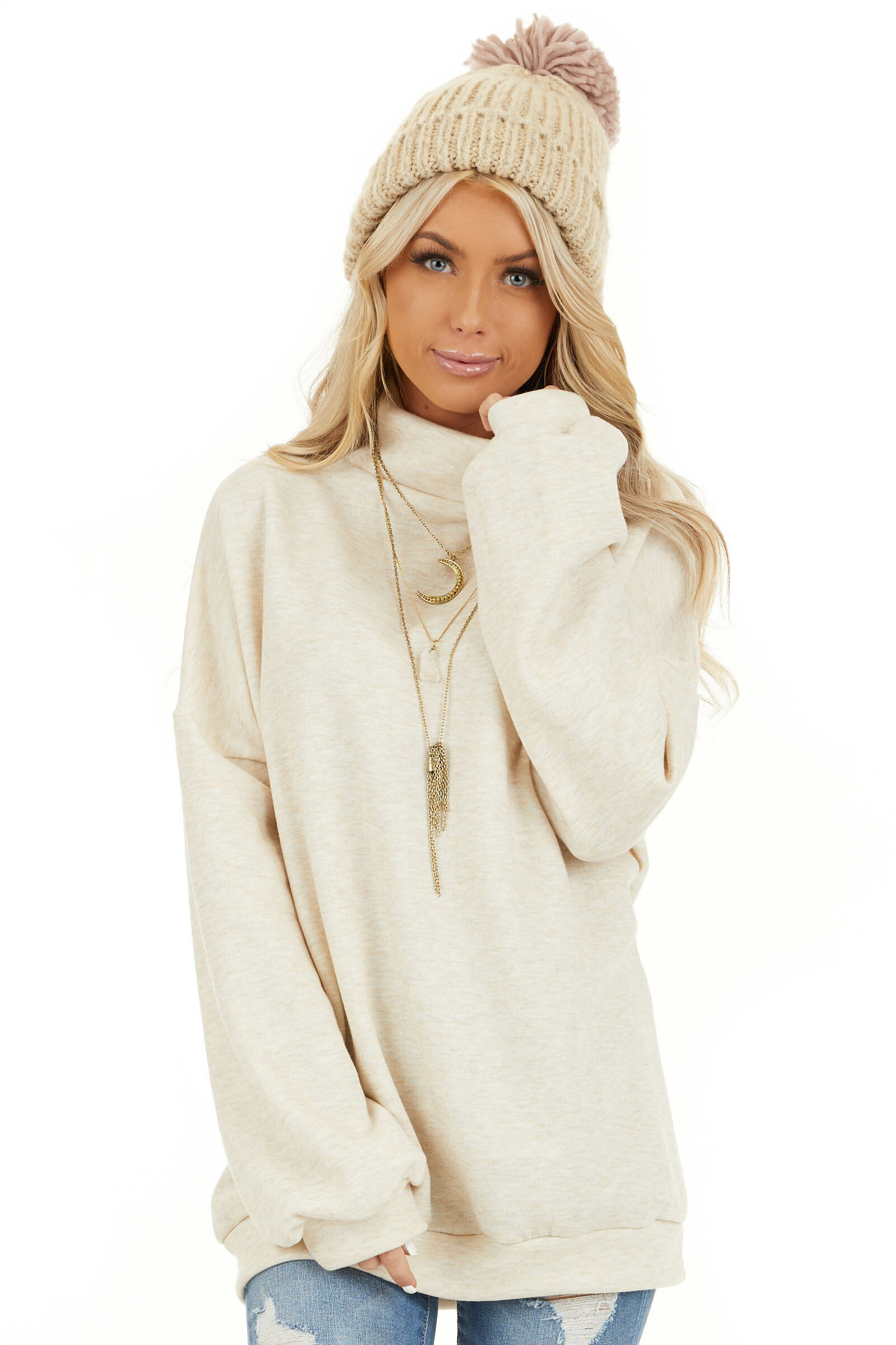 Oatmeal Turtleneck Top with Long Sleeves and Banded Hem front close up