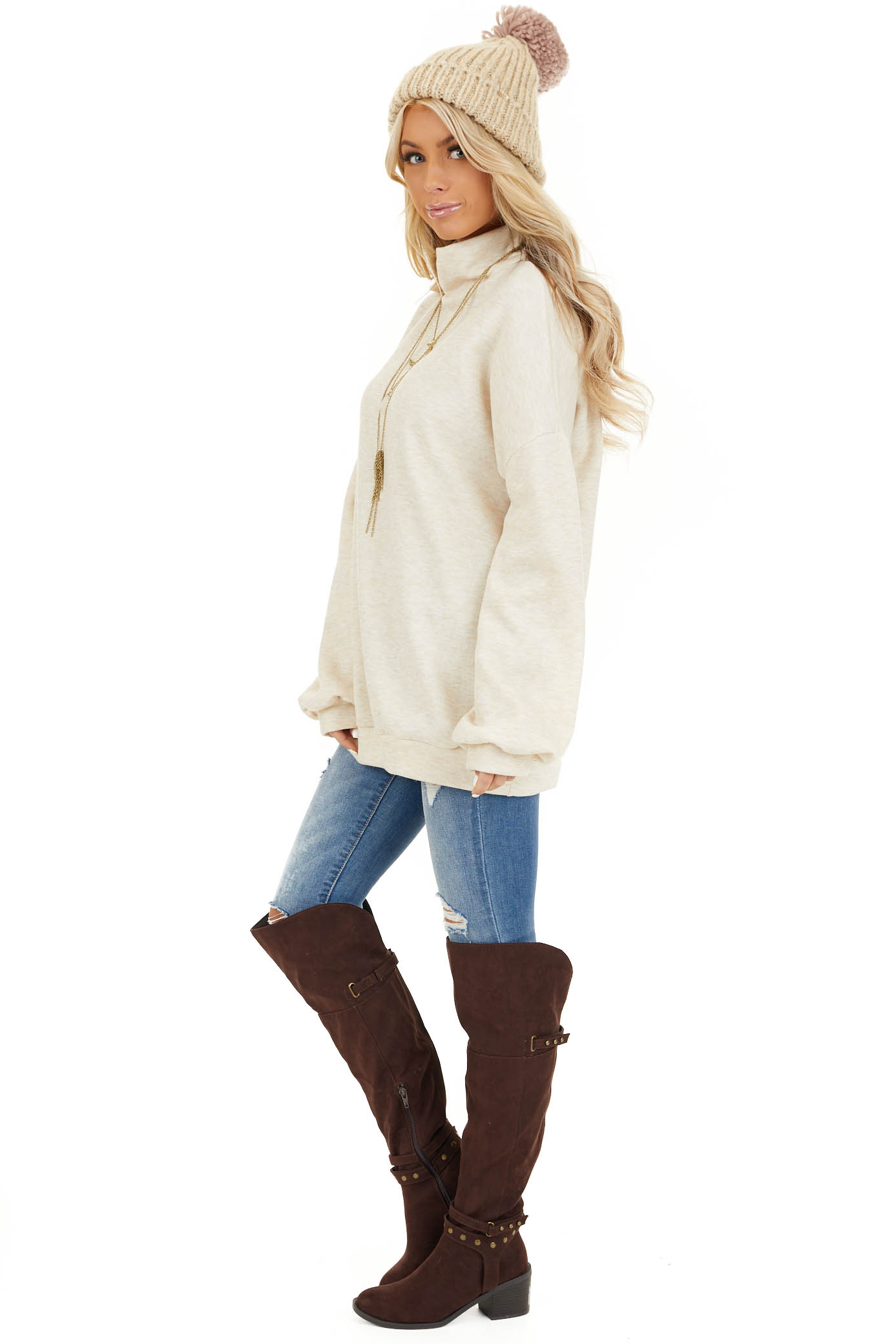 Oatmeal Turtleneck Top with Long Sleeves and Banded Hem side full body