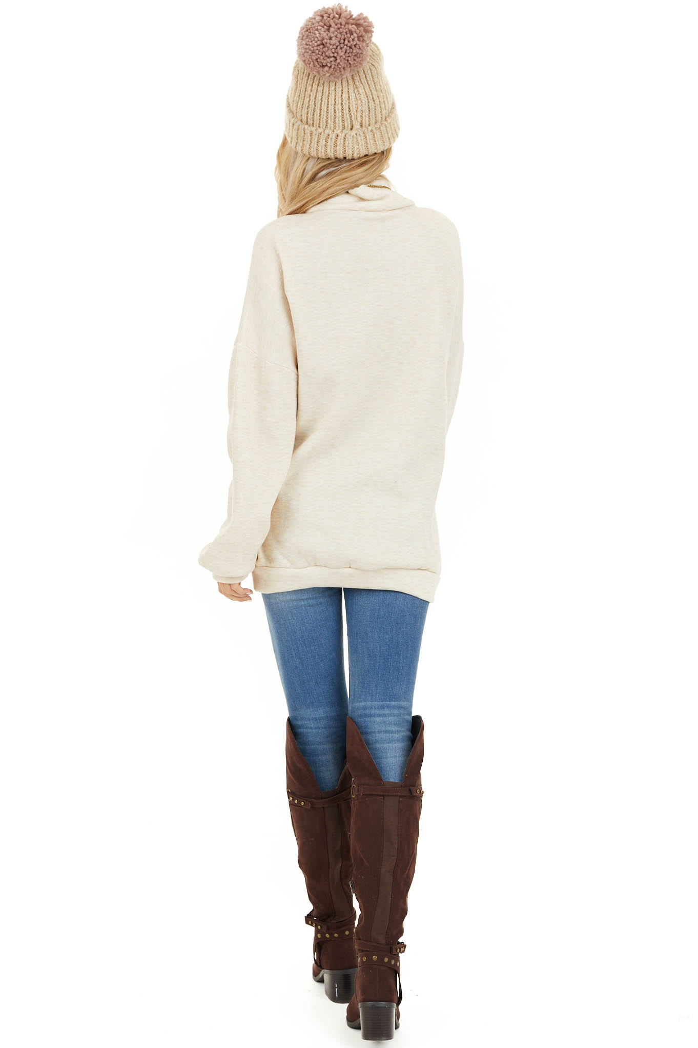 Oatmeal Turtleneck Top with Long Sleeves and Banded Hem back full body