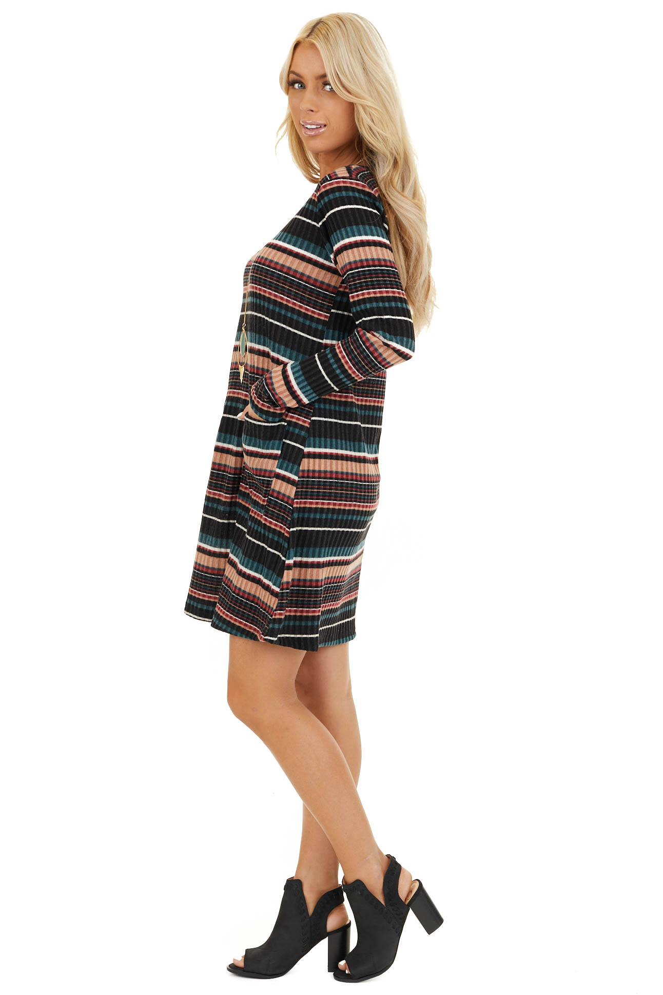 Black Multi Color Striped Sweater Dress with Front Pockets side full body