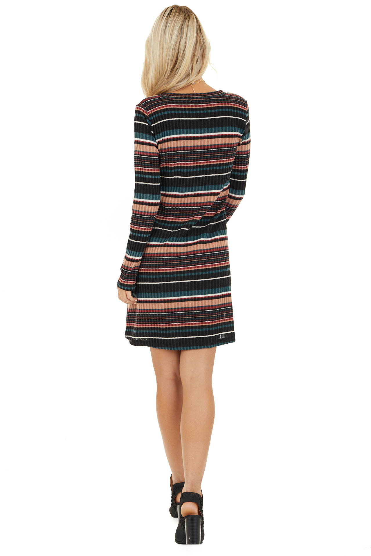 Black Multi Color Striped Sweater Dress with Front Pockets back full body