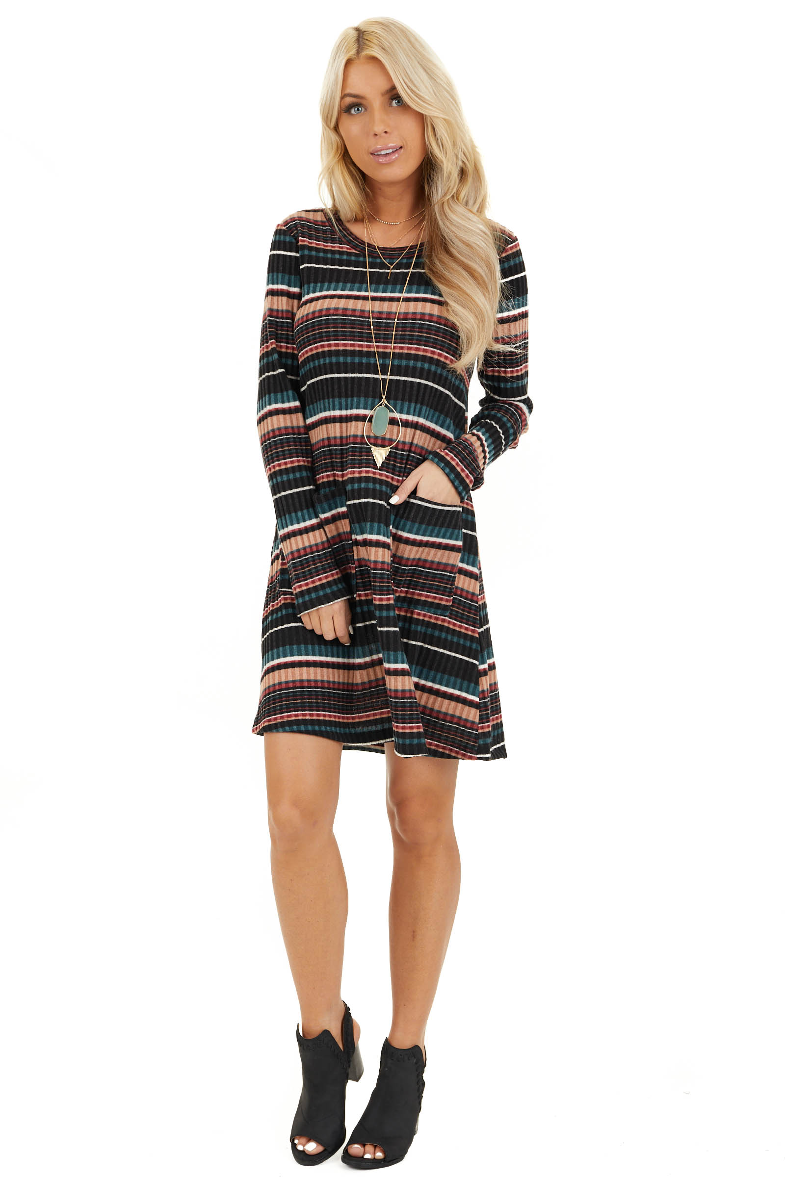 Black Multi Color Striped Sweater Dress with Front Pockets front full body