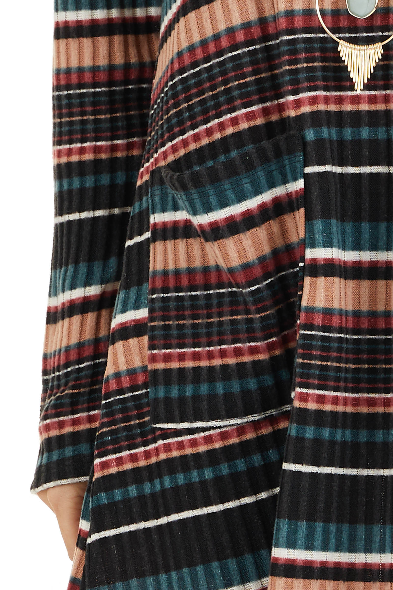 Black Multi Color Striped Sweater Dress with Front Pockets detail