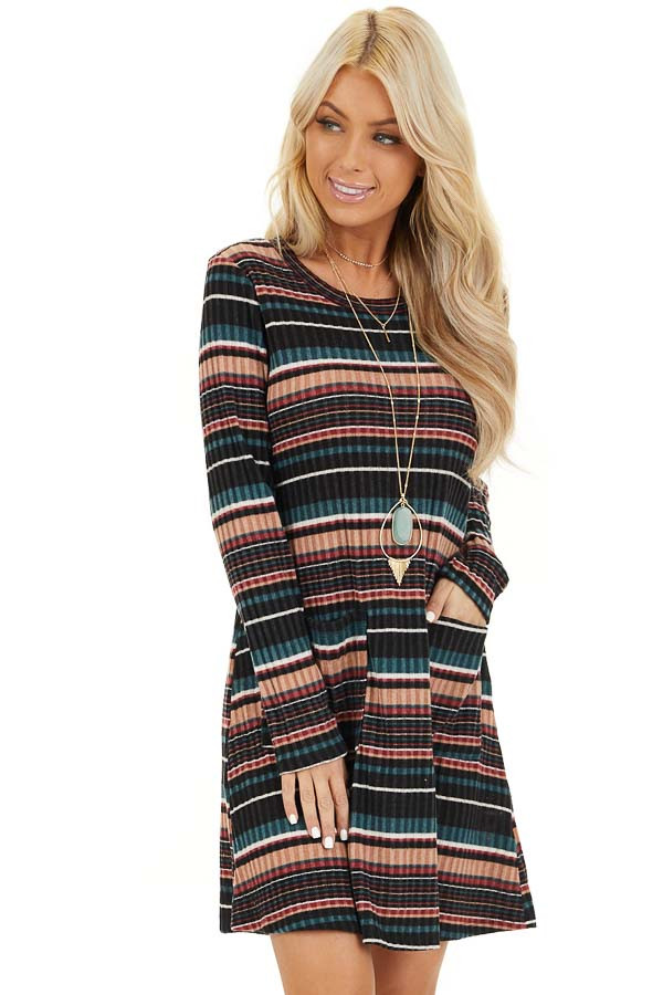Black Multi Color Striped Sweater Dress with Front Pockets front close up