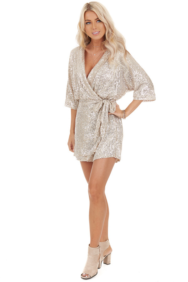 Champagne Sequined Wrap Romper with Front Tie Detail front full body